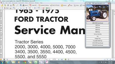 Ford tractors 2000, 2310 2600 2610 3000 3230  3430 3600 3930 4000 4630 5000 service manual