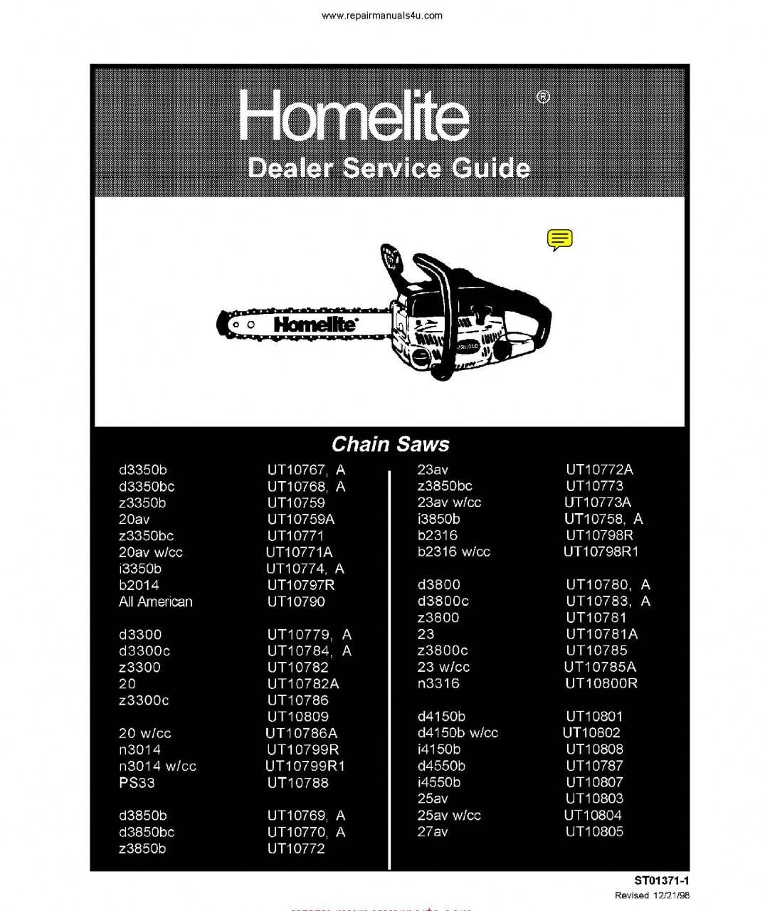 Homelite Chain Saw Service Repair Manual 42 Models