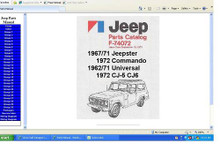 Disc (CD) containing the following Jeep SJ Series factory parts manual, please specify year needed, this includes the trucks gladiators J series grand sereis and honcho Manuals are in adobe PDF format on a CD. Fully indexed and bookmarked for easy navigation and use easy browsing, viewing, zooming and printing . You can print any page or the complete manual . See my store for any manual on CD you might need. Jeep SJ factory parts  manual 1981 - 1986 J Gladiator Honcho Grand wagoneer