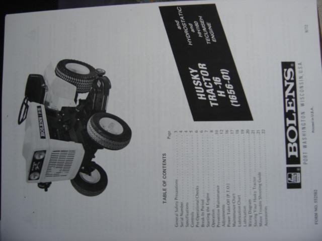 Bolens G16 H16 tractor service repair manual 1656