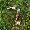 HOTI Hemp Handmade Pretty Red Swarovski Crystal Butterfly Pewter Antique Silver Roach Clip Dangling Metal Women's Ladies Woman Her Unisex Men's Man Charm Handcrafted Made in Toronto Made in Ontario Made in Canada Charming Collection Marijuana Weed 420 Alligator Clips Blunt Joint Holder Mary Jane Pot Cannabis Clip It Dope Gifts Stoner Gift Toronto Ontario Canada Canadian