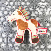 "Douglas Cuddle Toys Horse Cookie Rare Beige Brown Spotted 7"" Christmas Festive Winter Holiday Ribbon Red Green Blue White Fuzzy Furry Icing Frosted Two Dimensional Ultra Soft Plush Stuffed Cuddly Toy Animal 664.1"