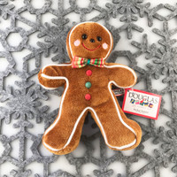 "Douglas Cuddle Toys Crumb Gingerbread Man Cookie Rare Brown 7.5"" Christmas Festive Winter Holiday Red Green Bow Tie Gumdrops White Frosting Fuzzy Furry Icing Frosted Flat Two Dimensional Ultra Soft Plush Stuffed Cuddly Toy 680.1"