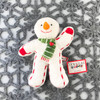 """Douglas Cuddle Toy Softy Snowman Cookie Rare White 7.5"""" Christmas Festive Winter Holiday Orange Carrot Nose Cinnamon Heart Candy Green Striped Scarf Red Mitts Mittens Gloves White Red Candy Cane Striped Frosting Fuzzy Furry Icing Frosted Flat Three Dimensional Ultra Soft Plush Stuffed Cuddly Toys 655.1"""