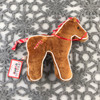 """Douglas Cuddle Toys Horse Gingerbread Cookie Rare Brown 7"""" Christmas Festive Winter Holiday Ribbon Bridle Red White Candy Cane Fuzzy Furry Icing Frosted Flat Two Dimensional Ultra Soft Plush Stuffed Cuddly Toy Animal 681.1"""