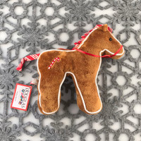 "Douglas Cuddle Toys Horse Gingerbread Cookie Rare Brown 7"" Christmas Festive Winter Holiday Ribbon Bridle Red White Candy Cane Fuzzy Furry Icing Frosted Flat Two Dimensional Ultra Soft Plush Stuffed Cuddly Toy Animal 681.1"