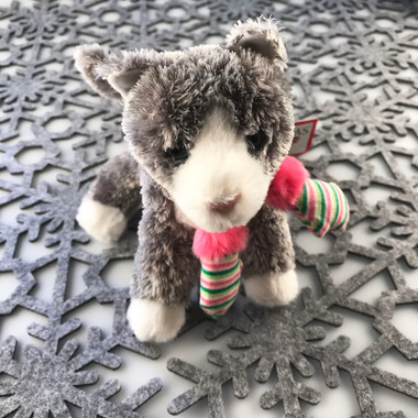 """Douglas Cuddle Toy Peppermint Gray White Grey Kitty Cat 6"""" Winter Fabric Pink Green Striped Mittens Mitts Rare Holiday Fuzzy Furry Ultra Soft Plush Stuffed Cuddly Toys Animal 617 Christmas"""