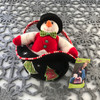 """Douglas Cuddle Toy 7"""" Black White Sassy Sak Top Hat Carrier Mr Snowman Christmas Holiday Fully Removable Light Dark Green Embroidered Trees Snowflakes Bow-Tie Candy Cane Ribbon Red Velvet Vest Gumdrop Buttons Orange Carrot Nose Fuzzy Stuffed Plush Purse"""