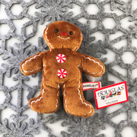 "Douglas Cuddle Toys Crispy Gingerbread Boy Cookie Rare Brown 6.5"" Christmas Festive Winter Holiday Red White Peppermint Candy Buttons Frosting Fuzzy Furry Icing Embroidered Frosted Ultra Soft Plush Stuffed Cuddly Toy 657.1"