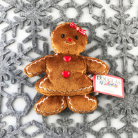"Douglas Cuddle Toys Crispy Gingerbread Girl Cookie Rare Brown 6.5"" Christmas Festive Winter Holiday Red White Fabric Bow Candy Heart Buttons Frosting Fuzzy Furry Icing Embroidered Frosted Ultra Soft Plush Stuffed Cuddly Toy 658.1"