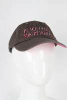 Be As You Are Peace Love & Happy Hour Brown Pink Hearts Baseball Hat Cap