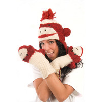 Delux Cute Red Sock Monkey Mitts Winter Warm Wool Animal Gloves Knit Mittens Knitwits