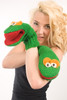 Delux Grouchy Bright Green Wool Winter Gloves Grouch Knit Mittens