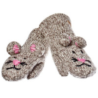 Delux Mimi Mouse Grey Pink Wool Gloves Gray Knit Mitts Warm Winter Mittens Knitwits