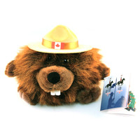 "Stuffed Animal House 4.5"" RCMP Beaver Corporal Flapjack Jr. Mountie Plush Royal Canadian Mounted Police Canada Flag Character Buck Teeth Fuzzy Furry Soft Toy"