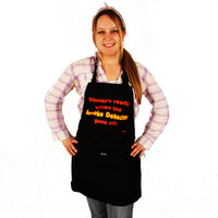 Grimm Dinner's Ready When The Smoke Detector Goes Off Fire Text Adjustable Black Apron Front Pocket
