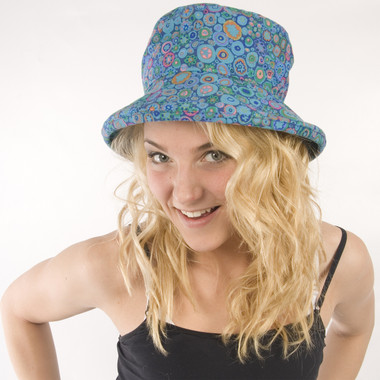 Puffin Gear Garden Retreat Blue Slouch SPF Wired Solarweave Sun Hat Circles Design Made in Canada