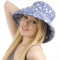 Puffin Gear Garden Retreat Blue Circles SPF Wired Sun Hat Wide Brim Solarweave Made in Canada