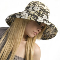 Puffin Gear Garden Retreat Botanix Starlet Brown Cream Banana Vines Solarweave SPF Wired Wide Brim Sun Hat Made in Canada