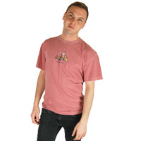 Life is Good Brick Red Happy Hour Mens Tee Top Crusher T-Shirt Jake Rocket Campfire Log Hot Drink