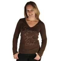 Life is Good Chocolate Brown Eyed Girl Long Sleeve T Shirt Vee Scoop Neck Top Cursive Font Lightweight Faded Tee
