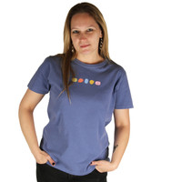 Life is Good Blue Bleu Color Stones Short Sleeve Crusher T-Shirt Ladies Tee Womens Top