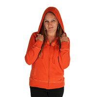 Life is Good Spicy Orange Softwash Zippity Full Zip Up Hood Up Ladies Hoodie Embroidered Front