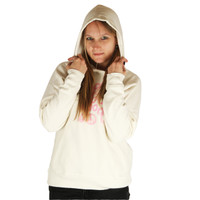 Life is Good Vintage Ivory Whimsy Script Embroidered Pink Peace Sign Goodie Hoodie Pullover Sweatshirt Hood Up