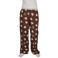 Life is Good Dark Chocolate Brown Sketchy Pink Hearts Pajamas Sleep Lounge Pants Ladies PJs Loungepants Flannel Sleepwear