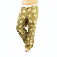 Life is Good Artichoke Green Pink Daisies Lounge Ladies Pajamas Sleep Loungepants Sleepwear PJs