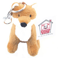 "Stuffed Animal House 3.5"" Sitting Red Fox Keychain Wild Zipper Pull Mini Key Chain Tiny Soft Furry Fuzzy Clip Backpack Toy Critter"