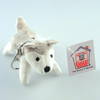 "Stuffed Animal House 4"" Striding Grey White Husky Dog Keychain Wild Gray Plush Puppy Doggie Zipper Pull Mini Key Chain Tiny Soft Furry Fuzzy Clip Backpack Critter Front"