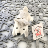 "Stuffed Animal House 4"" Striding Grey White Husky Dog Keychain Wild Gray Plush Puppy Doggie Zipper Pull Mini Key Chain Tiny Soft Furry Fuzzy Clip Backpack Critter"