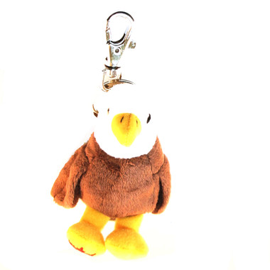 """Stuffed Animal House 2.75"""" Eagle Maplefoot Keychain Wild Zipper Pull Mini Maple Leaf Key Chain Tiny Soft Furry Fuzzy Clip Backpack Critter Canadian Wildlife Sitting Standing"""