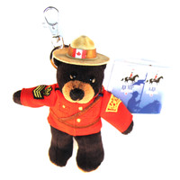 "Stuffed Animal House 5"" Standing RCMP Black Bear Keychain Wild Zipper Pull Mini Official Licensed Uniform Stetson Hat Maple Leaf Key Chain Tiny Soft Furry Fuzzy Clip Backpack Critter Royal Canadian Mounted Police Wildlife Canada KC-01"