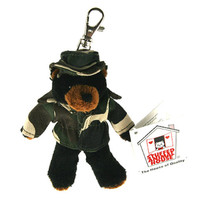"Stuffed Animal House 4.75"" Standing Black Bear Camouflage Coat Hat Camo Jacket Keychain Wild Zipper Pull Mini Key Chain Tiny Soft Furry Fuzzy Clip Backpack Critter Canadian Wildlife"