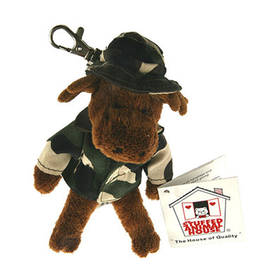 """Stuffed Animal House 5"""" Standing Moose Camouflage Hat Coat Camo Jacket Keychain Wild Zipper Pull Mini Key Chain Tiny Soft Furry Fuzzy Clip Backpack Critter Canadian Wildlife"""
