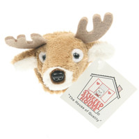 "Stuffed Animal House 2"" White Tailed Deer Head Fridge Refrigerator Locker Magnet Mini Magnetic Walltoy Wild Tiny Toy Small Soft Furry White-Tailed Fuzzy Plush Felt Antlers Critter Canadian North American Wildlife"