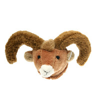 "Stuffed Animal House 2"" Brown Bighorn Sheep Head Fridge Refrigerator Locker Magnet Mini Magnetic Walltoy Wild Tiny Toy Small Soft Furry Fuzzy Ram Horns Plush Critter Canadian North American Wildlife"
