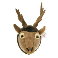 "Stuffed Animal House 11"" Brown Elk Head Wall Toy Walltoy Wild Soft Furry Fuzzy Antlers Plush Critter Canadian North American Wildlife Hunting"