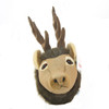 """Stuffed Animal House 7"""" Brown Elk Junior Head Wall Toy Walltoy Small JR Wild Soft Furry Fuzzy Antlers Plush Critter Canadian North American Wildlife Hunting"""