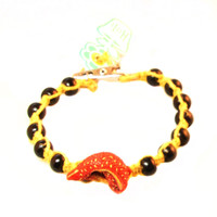 HOTI Hemp Handmade Yellow Koi Fish Peruvian Ceramic Yellow Hemp Black Wood Beads Mens Bracelet Made in Canada Made in Toronto Hand Crafted Toronto Ontario Canada Tattoo Rocker Surfer Hippie Chic 420 Beaded Crow Beads Alligator Clip Roach Clip Clip It Clip