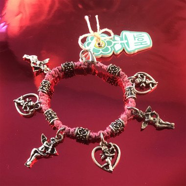 HOTI Hemp Handmade Pink Classic Love Pink Hemp Fancy Metal Beads Ladies Womens Charm Bracelet Made in Canada Hand Crafted Made in Toronto Made in Ontario Boho Chic Beaded Cupid Heart Winged Angel Charms Clasp It Lobster Clasp Toronto Ontario Canada Canadian