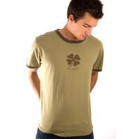 Life is Good Olive Green Four Leaf Clover Short Sleeve Mens Sleep Pajama T Shirt Good Luck  PJs Tee PJ Top