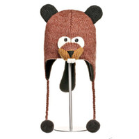 Delux Barkley Beaver KIDS Knitwits Animal Knit Brown Pilot Hat Winter Warm Knitted Wool Cute Fun Buck Teeth Beaver Tail