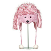 Delux Precious Pink Poodle Winter Knitwits Puppy Dog Animal Knit Pilot Youth Adult Knitted Hat Warm Wool Cute Furry Fun