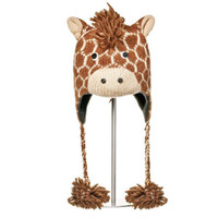 Delux Giraffe Dark Brown Winter Knitwits Horned Animal Print Knit Pilot Youth Adult Knitted Hat Warm Wool Cute Fun