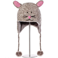 Delux Mimi Mouse Grey Pink Winter Gray Knitwits Animal Knit Pilot Youth Adult Knitted Hat Warm Wool Cute Fun