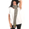 Delux Black White Cherry Striped Winter Stripes Knit Youth Adult Knitted Thin Wool Scarf