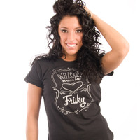 Be As You Are Whiskey Frisky Bottle Label Tee Women's Short Sleeve T-Shirt Silver Script Shirt Ladies Top Zoom